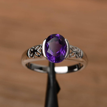 Oval Cut Gemstone Engagement Sterling Silver Ring Genuine Amethyst Ring