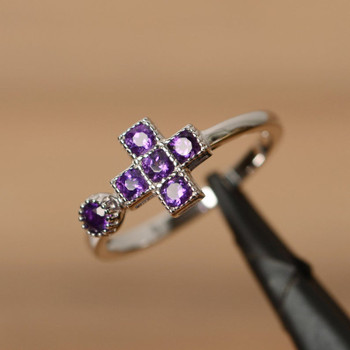 Natural Amethyst Ring Multistone Ring February Birthstone Silver Ring