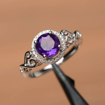 Genuine Amethyst Ring Promise Ring Round Cut Ring Silver Ring