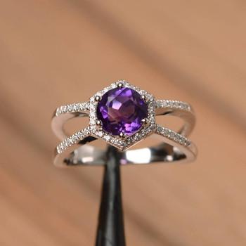 Round Cut Natural Amethyst Ring Wedding Ring Silver Ring Purple Gemstone Ring