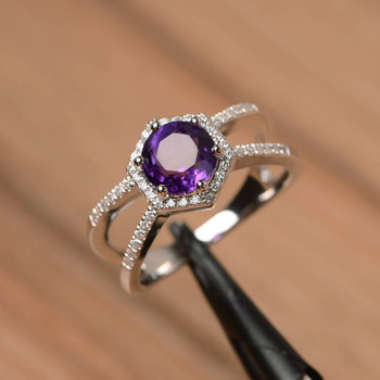 Round Cut Natural Amethyst Ring Wedding Ring Silver Ring Purple Gemstone Ring