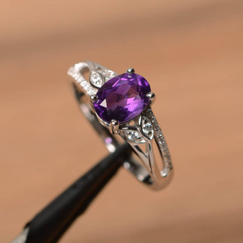 Purple Gemstone February Birthstone Oval Cut Gemstone Sterling Silver Ring