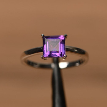 Amethyst Ring Square Cut Purple Gemstone Natural Quartz Ring Silver Ring