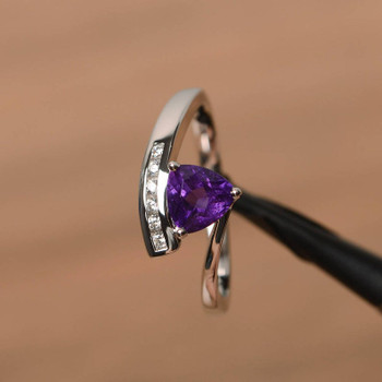 Amethyst Ring Promise Ring Trillion Cut Purple Gemstone Sterling Silver Ring