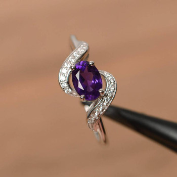 Oval Cut Purple Gemstone Sterling Silver Ring Wedding Ring
