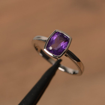 Natural Purple Amethyst Ring Silver Solitaire Ring February Birthstone Ring