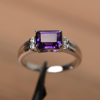 Purple Amethyst Ring Sterling Silver Emerald Cut February Birthstone Ring