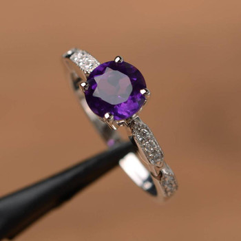 Purple Amethyst Ring Round Cut Engagement Ring Gemstone Silver Ring