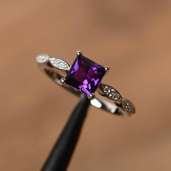Princess Cut Ring Anniversary Rings Amethyst Rings Sterling Silver Ring