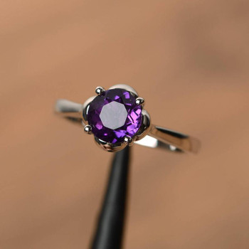 Solitaire Rings Natural Round Cut Amethyst Solid Silver Ring Promise Ring