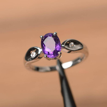 Oval Cut Gemstone Birthstone Purple Gems Sterling Silver Ring