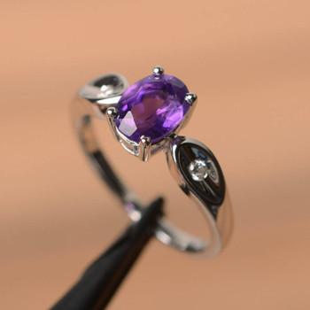 Oval Cut Gemstone Birthstone Purple Gems Sterling Silver Ring