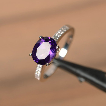 Oval Amethyst Ring Sterling Silver Engagement Ring Anniversary Ring