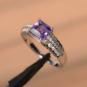 Square Cut Natural Aamethyst Ring Wedding Ring Sterling Silver Ring