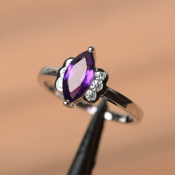 Marquise Cut Gemstone Amethyst Purple Gems Sterling Silver Ring