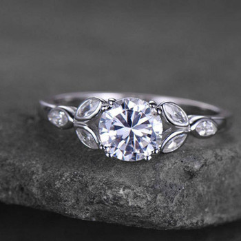 Sterling Silver Ring Round Cut Cubic Zirconia Engagement Ring