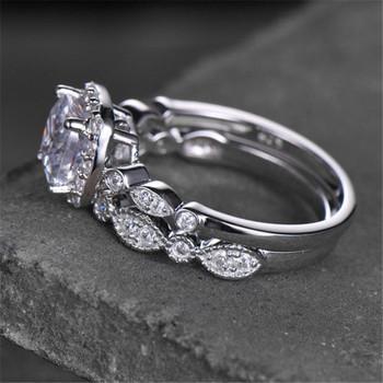 Cushion Cut Cubic Zirconia Engagement ring CZ wedding ring Set