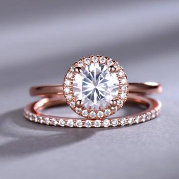 7mm Round CZ Engagement Ring Plain Gold Band Wedding Band Silver Bridal Set