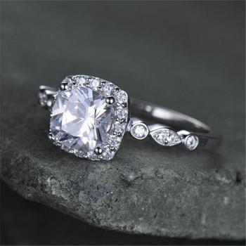 Silver Ring Cushion Cut Cubic Zirconia Engagement Ring CZ Wedding Ring