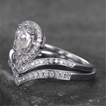 EngagementRing Set Pear Cut Ring V Shaped Wedding Band Simulant Diamond Ring