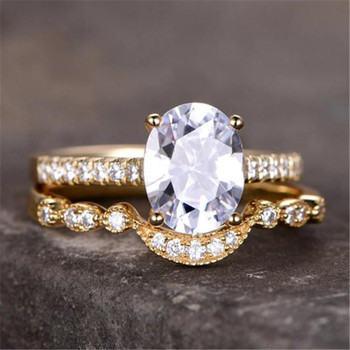 CZ Engagement Ring Set 6x8mm Oval Cut Cubic ZirconiA Sterling Silver