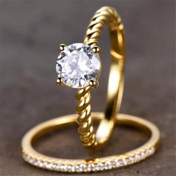 Engagement Ring Briliiant Cut CZ Diamond Ring Half Eternity Wedding Band