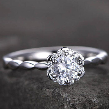 Floral Engagement Ring Unique Brilliant CZ Engagement Ring Promise Ring  Wedding Band
