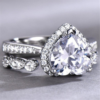 8mm Heart Shaped Engagement Ring Set Diamond CZ Wedding Ring  Promise Ring
