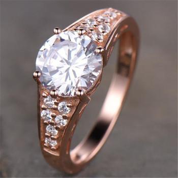 Rose Gold Man Made Diamond Engagement Round Cut Wedding Ring