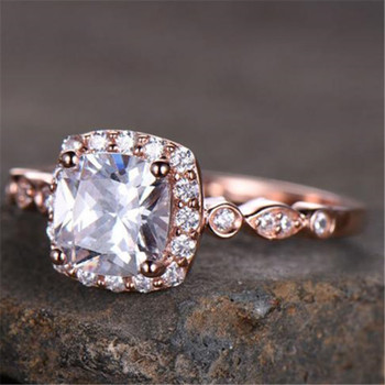 Cushion Cut Cubic Zirconia Engagement Ring Wedding Stackable Promise Ring