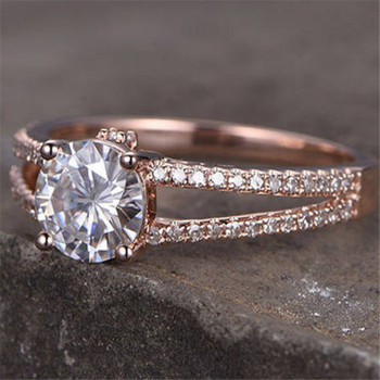 7mm Round Silver Rose Gold Plated Engagement Ring Cubic Zirconia Wedding