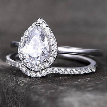 6*8mm Pear Cut CZ Engagement Ring Plain Gold Band Wedding Ring Bridal Set