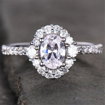 Engagement Ring 6*8mm  CZ Bridal Ring Oval Cut Ring Cluster Ring