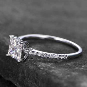 Sterling Silver Ring Princess Shaped Cubic Zirconia Engagement  Wedding Promise Ring