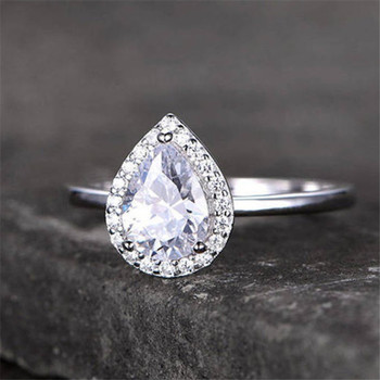 6*8MM Pear Shaped Engagement Ring Promise Ring  Bridal Ring White Gold Plated CZ Ring