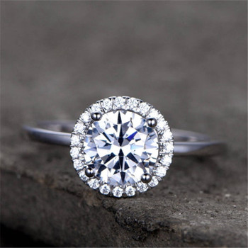 CZ Halo Engagement Ring 7mm Round Cut Sterling Silver  Wedding Ring