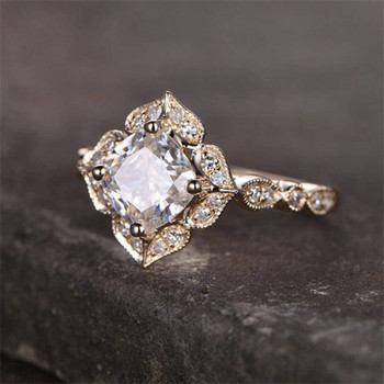Cushion shaped CZ Engagement Ring Wedding Promise Ring Birthday Gift