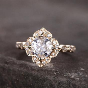 Cushion shaped CZ Engagement Ring Wedding Promise Ring Birthday Gift