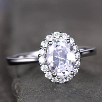 Vintage Floral Engagement Ring Halo 6x8m Oval CZ Bridal Ring Cluster Ring
