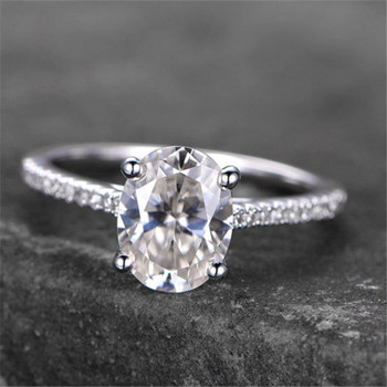 Sterling Silver Ring Oval Shaped Cubic Zirconia Engagement Wedding Ring Promise Ring