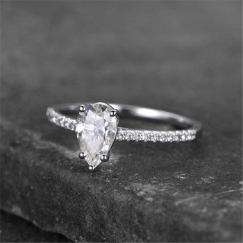 Sterling Silver Ring Pear Shaped Engagement Ring CZ Wedding Promise Ring