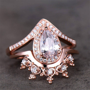 Crown Ring Set CZ  Ring 5*8mm Pear Cut Engagement Ring Wedding Band