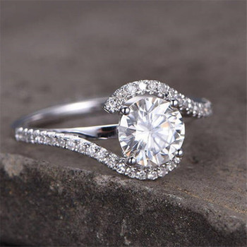 CZ Engagement Ring 6.5mm Round Cut Wedding Ring Promise Ring
