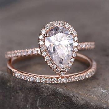Pear Cut Engagement Ring 6*8mm CZ Wedding Ring Set Bridal Ring
