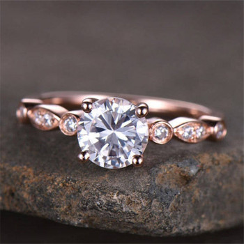 Engagement Ring Wedding Ring Sterling Silver Rose Gold Plated Bridal Ring