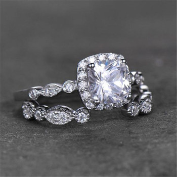 Sterling Silver Ring Set Cushion Cut Engagement Ring CZ Wedding Promise Ring