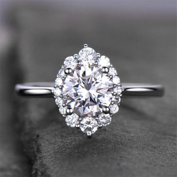 Vintage Floral Engagement Ring  6.5mm Round Cut CZ Bridal Ring Cluster Ring
