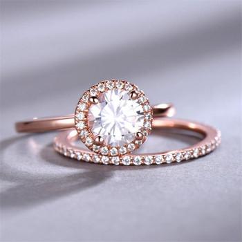 Wedding Ring Set 7mm Round CZ Engagement Ring  Full Eternity Wedding Band