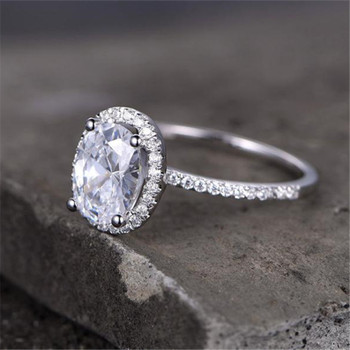 Oval Shaped Cubic Zirconia Engagement Ring CZ Wedding Ring Promise Ring