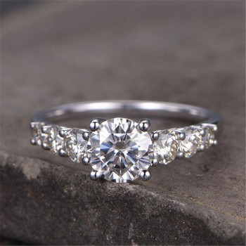 Sterling Silver Ring Round Cut Cubic Zirconia Engagement Ring Wedding Ring